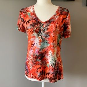 Peter Nygard Short Sleeve V Neck Orange Abstract